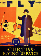"18x24""Travel Poster on Canvas.Home Room Interior design.Fly Curtiss.6586"