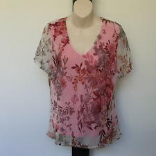 'NONI B' EC SIZE '12' PINK, ORANGE & YELLOW FLORAL CAP SLEEVE SHEER LINED TOP