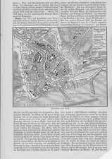 Plan de Brest Bretagne original carte de 1897 CHATEAU GUERRE Port