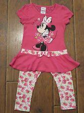 Nwt Girls 6 Disney Minnie Mouse Shirt Capris Capri Outfit Set Pink Bow Flowers