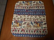 TEDDY BEAR ALL AMERICAN DOLL BLANKET QUILTED WITH MAROON TIES   (NEW)