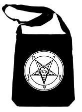 White Classic Sigil of Baphomet Black Sling Bag Occult Book Bag Satanic Church