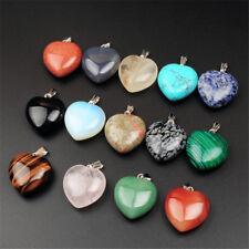 24pcs/lot hybrid heart Gemstone Silver Beads Pendants Hot Wholesale Fashion
