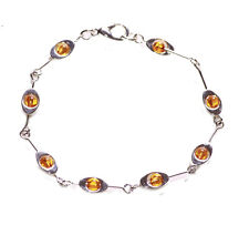 Charismatic & Regal Orange Beads & Chrome Eye Chain Metal Hand Bracelet(Zx253)