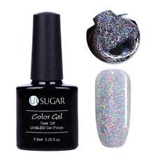 Nail UV Gel Polish Holographic Silver Sequins Soak Off Gel Nail Art Decor UR-02