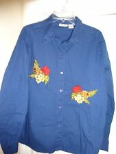 COLLECTIONS ETC Ladies Navy Blue Button Front Size XL Cotton Blouse with Flowers