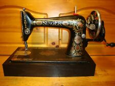 "ANTIQUE SINGER SEWING MACHINE MODEL 66 "" RED EYE "" ,HAND CRANK ,SERVICED"