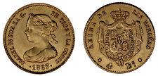 4 GOLD ESCUDOS / ORO. ISABELLA II - ISABEL II. MADRID 1867. XF+ / EBC+.