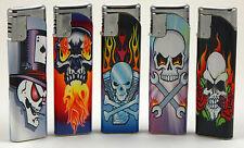 Lot of 5 Refillable Adjustable Butane Slide Electronic Lighter Riding Skull