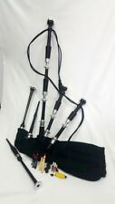 TZ Full Size Bagpipe Rosewood Black Finish Silver Mounts Chanter Reeds/Drone Set