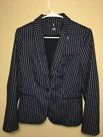 Tommy Hilfiger Women's Blazer Navy Blue Pinstripe Single Button sz 6 new $139