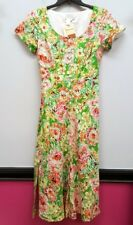 COLDWATER CREEK Size 6 Green Floral Button Front Belted Long Maxi Shirt Dress