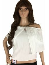 Mags Women Top Crop Stretch Relaxed Fit Off The Shoulder Pleated White M Petite