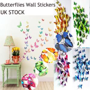 12pcs 3D Butterfly wall Stickers Art Magnet Wall Design Decals Kids Home Decor