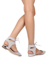 New Women Qupid Token-02 Faux Suede Pointy Toe d'Orsay Ankle Cuff Flat