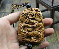 Wood Carving Chinese Knot Ancient Dragon Car Pendant Amulet Wooden Craft 龙