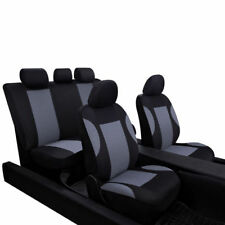 9 Pcs Gray Breathable Car Seat Covers Set for Auto Front Rear Seats Headrests