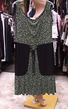 Joseph Ribkoff BNWT UK 20 Fabulous Black & Green Polka Dot Stretch Jersey Dress