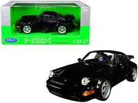 PORSCHE 964 TURBO BLACK 1/24-1/27 DIECAST MODEL CAR BY WELLY 24023bk