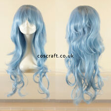 Long wavy curly cosplay wig with fringe in baby pale blue, Charlie style