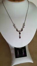 SPECIAL OCCASION & BRIDAL DARK AMETHYST CZ & CRYSTAL NECKLACE & EARRING SET