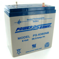 Power-Sonic PS-6360-NB 6V/36AH Sealed Lead Acid Battery w/ NB Terminal