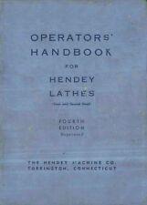 HENDEY Geared & Coned Head Lathe Operators' Handbook Manual PDF Format