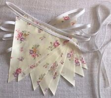 Bunting - Cream Floral Shabby Chic Vintage Wedding Party Decoration Fabric 9ft