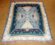 Jim Shore Sailboats & Lighthouses Tapestry Afghan Throw