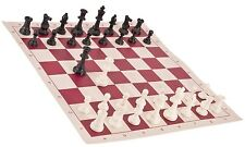"Black & White Chess Pieces & 20"" Fuchsia Vinyl Board - Single Weighted Chess Set"