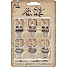 Tim Holtz Idea-ology Buckles - 6pcs Antique Nickel, Brass & Copper