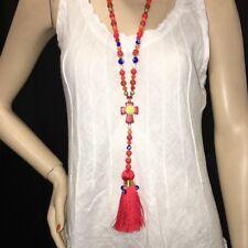 Collier Sautoir Bijou Mode Tendance Fashion Paris Long Croix Rouge Protection