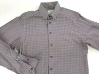 ETON CONTEMPORARY FIT BUTTON DOWN DRESS SHIRT MEDIUM EUR 39 RED BLACK PLAID