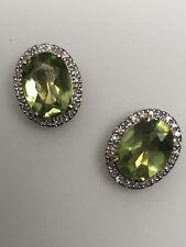 10K White Gold Oval Shape Peridot and Diamond Halo Stud Earrings August Gem