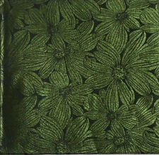 African Damask/ Metallic Jacquard/ Headtie, Gele Fabric - Green Floral, ~2 Yards