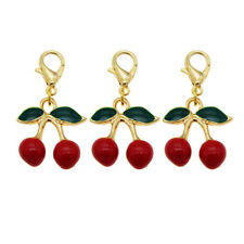 12pcs/pack Enamel Cherry Pendant Semi-product Necklace DIY Jewelry Accessories