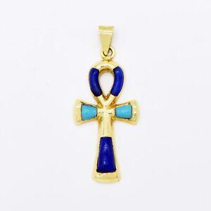 18k Yellow Gold Estate Lapis & Turquoise Ankh Egyptian Cross Pendant