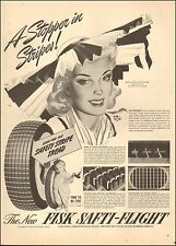 1941-Vintage Ad for Fisk Tires`WWII Era, Safti-Flight Tire`Boy with Candle logo
