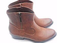 Women's Brown Studio Paolo Giselle Western Ankle Boots Size 8M Low Heel Zipper