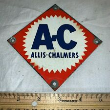 ANTIQUE ALLIS CHALMERS A-C PORCELAIN FARM EQUIPMENT SIGN SMALL DIAMOND VINTAGE
