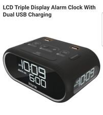 Lcd Triple Display Alarm Clock With Dual Usb Charging **FAST SHIPPING**
