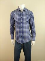 HUGO BOSS Mens Blue Plaid Shirt NEW Slim Fit Ronny Long Sleeve Cotton Shirt Sz L