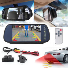 """7"""" Car SUV Rear View TFT LCD Mirror Monitor +  Reversing Camera Radar Beeper Kit"""