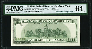 Partial Face to Back Offset Error Fr 2175-B $100 1996 Federal Reserve Note PMG64
