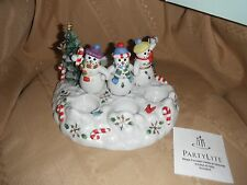 partylite snowbell tea light holder snowmen and tree new