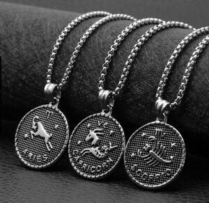 Halskette Löwe Halbmond Sternzeichen  Schmuck Kette Anhänger Silber