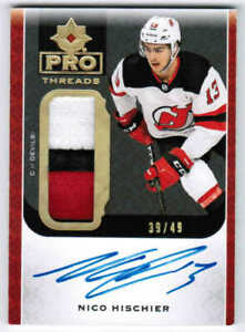 19/20 2019 UD ULTIMATE NICO HISCHIER PT-NH PRO THREADS PATCH AUTO /49 NJ DEVILS