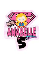 Supergirl PERSONALISED Cake Topper.  Lolly Bag Party Supplies Superhero Avengers