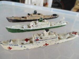 VINTAGE SOLID CAST METAL SHIPS X 3