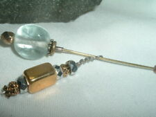 Vintage Hand Blown G 00004000 Lass And Hematite Goldtone Dangle Hatpin In Gift Box
